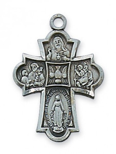 Antique Pewter 4-Way Medal- Flared