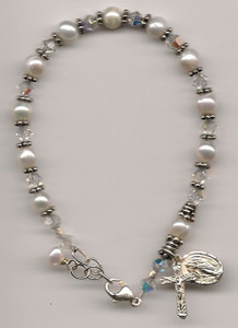 Small Pearl and Swarovski Crystal Rosary Bracelet