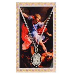 Saint Michael Prayer Card and Medal Set- Filigree