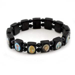 Small Black Wood Saint Bracelet with Color Images