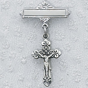 Sterling Silver Fancy Crucifix Baby Pin