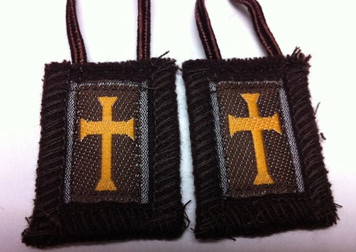 Brown Crusader Scapular with Short Cord