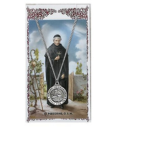 Saint Peregrine Prayer Card and Medal Set