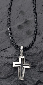 Dimensions of Christ Cross/Fish Necklace with Leather Chain
