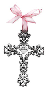 Bless This Child Pink Filigree Cross