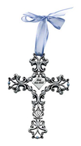 Bless This Child Blue Filigree Cross