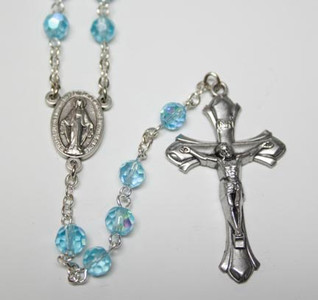 March Aquamarine Birthstone Rosary