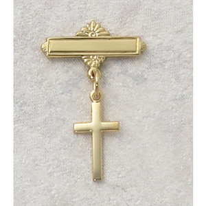 18KT Gold on Sterling Silver Cross Baby Pin