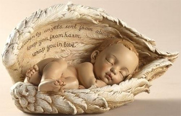 Baby in Angel Wing Figurine