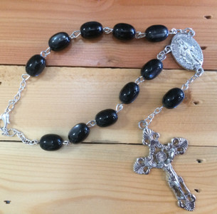 Jet Black One Decade Auto Rosary