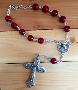 Red One Decade Auto Rosary