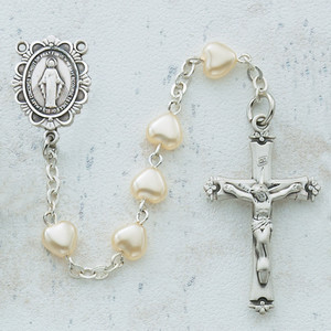 6x6mm Deluxe Pearl Heart Rosary