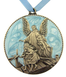 Blue Guardian Angel Cradle Medal