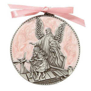 Pink Guardian Angel Cradle Medal