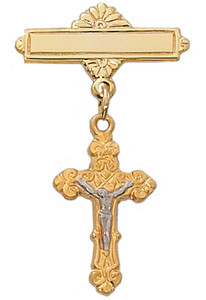 18KT Gold on Sterling Silver Crucifix Baby Pin