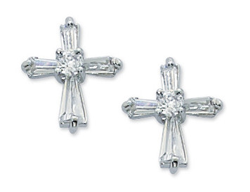 Crystal Cubic Zirconia Cross Earrings