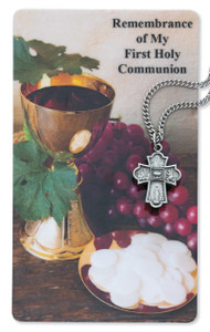 4-Way First Holy Communion Prayer Card and Medal Set