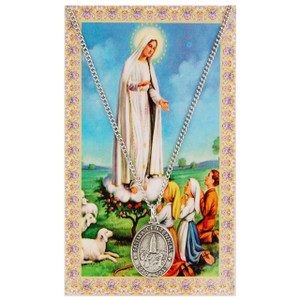 Our Lady of Fatima Prayer Card and Medal Set