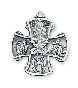 Sterling Silver Fancy 4-Way Medal