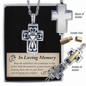 Memorial Cross Ash Locket W/ Clear Crystals on 24 in Chain