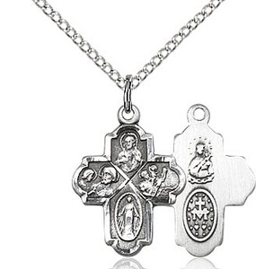 """Sterling Silver 4-Way Medal 18"""""""