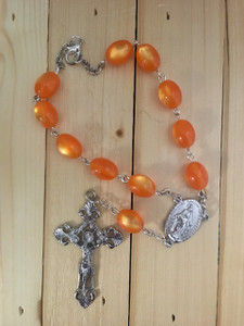 Orange One Decade Auto Rosary