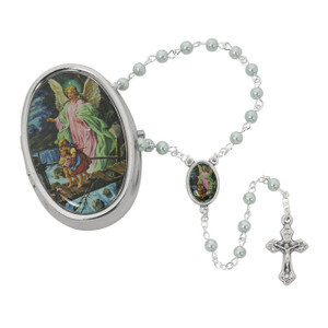 Guardian Angel Blue Rosary with Box