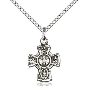 """Sterling Silver 5-Way Medal with  15"""" Chain"""