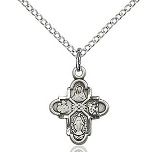 "Sterling Silver 4-Way Medal with  15"" Chain"