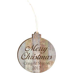 Light Faux Wood Personalized Ornament