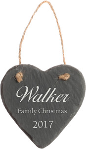Heart Slate Personalized Ornament