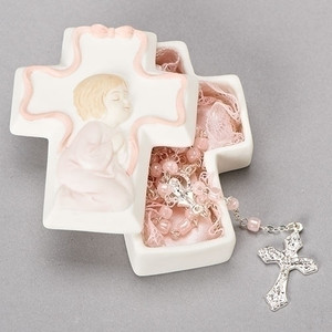 Girl Porcelain Cross Box W/ Inset and  Rosary