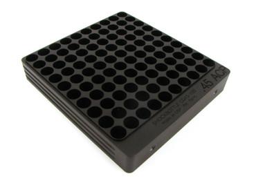 100-Hole 45 ACP Chamber Checker Cartridge Case Gauge - Anodized Black Hundo Casegauge