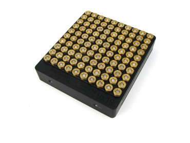 100-Hole 9mm Luger Chamber Checker Cartridge Case Gauge - Anodized Black Hundo Casegauge
