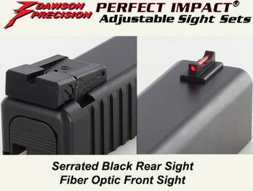 Dawson Precision Glock Adjustable Sight Set - Black Rear & Fiber Optic Front (310-097)