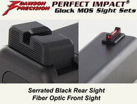 Glock MOS Fixed Non Co-Witness Sight Set - Black Rear & Fiber Optic Front by Dawson Precision