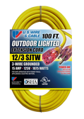 US Wire & Cable 74100 100ft 12/3 15A Illuminated Plug Extension Cord