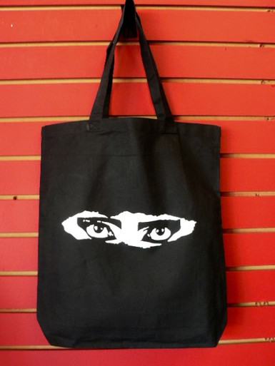 Siouxsie Sioux Peek-A-Boo Eyes Black Cotton Canvas Tote Bag