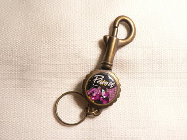 Vintage 80s Prince - Purple Rain - Prism Style Button / Pin Keychain with Bottle Opener