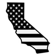Black American Flag on California Outline Decal