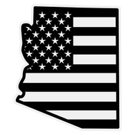 Black American Flag on Arizona Outline Reflective Decal