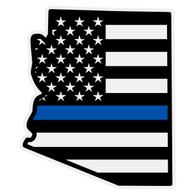 Black American Flag with Blue Line on Arizona Outline Reflective Decal