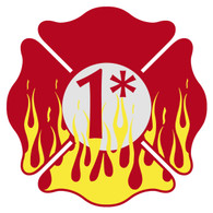 1 (Ass-to-Risk) Flaming Maltese Cross Decal
