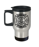 Custom Black Maltese Cross Stainless Steel Travel Mug