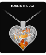 I Love My Firefighter Silver Necklace
