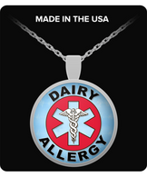 Dairy Allergy Medical Charm Necklace