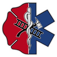 Half Maltese Cross Half Star of Life Decal