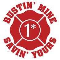 Bustin' Mine Savin' Yours (1 Ass 2 Risk) Maltese Cross Decal