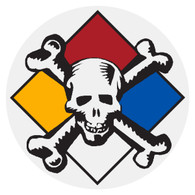 Round Hazardous Materials Skull Decal