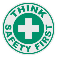 Round Think Safety First Decal